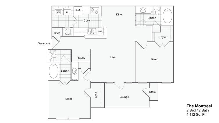 Floor Plan 4 | Atlanta GA Apartments | The Artisan Luxury Apartment Homes