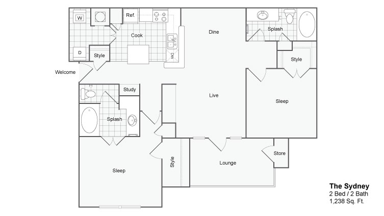 Floor Plan 5 | Luxury Apartments In Atlanta Georgia | The Artisan Luxury Apartment Homes