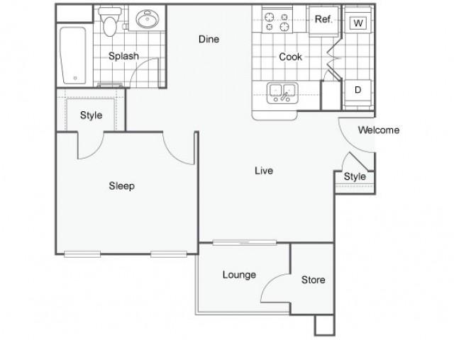 1 Bed 1 Bath A1   Capella At Rancho Del Oro Apartments For Rent Oceanside CA 92057 Floor Plan