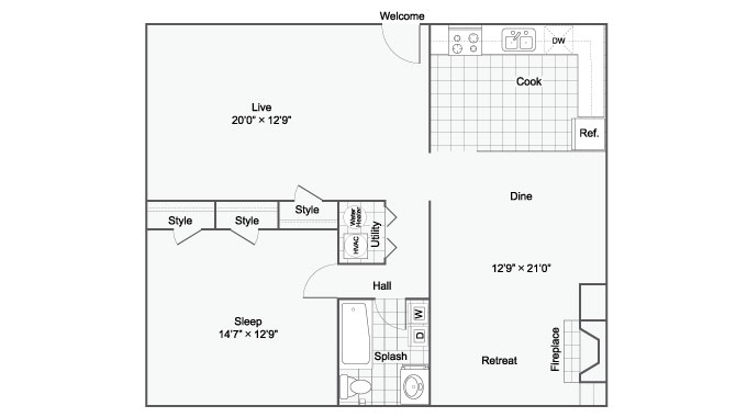 Floor Plan 4 | Luxury Apartments Birmingham ALabama | The Kenzie Apartment Homes