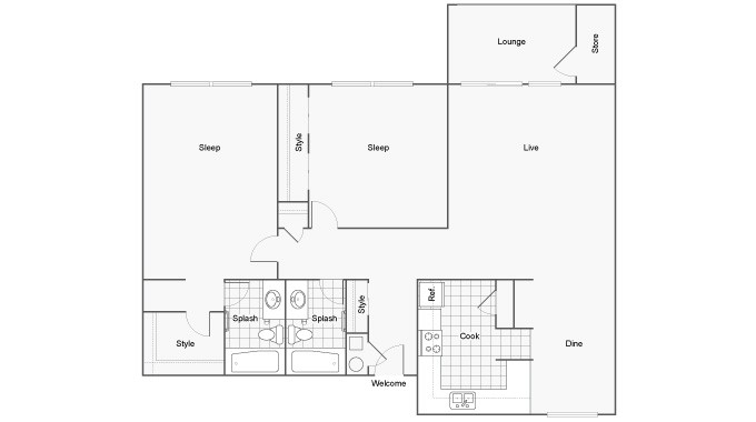 Floor Plan 20 | Student Apartments Near FSU | The Social at Tallahassee