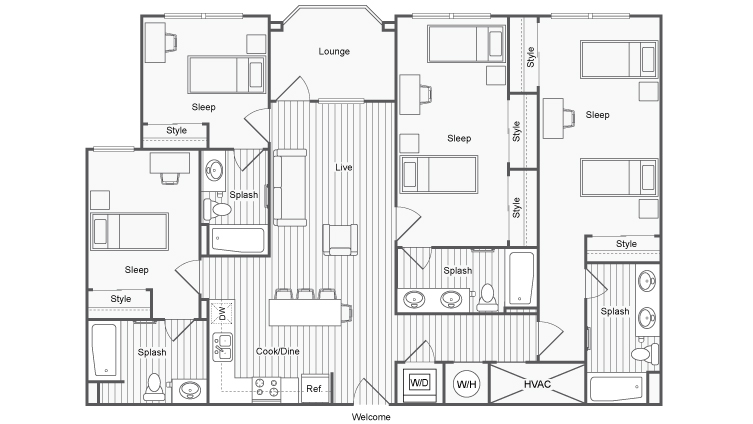 4 Bed 4 Bath Apartment in San Diego CA – Student Housing Floor Plans