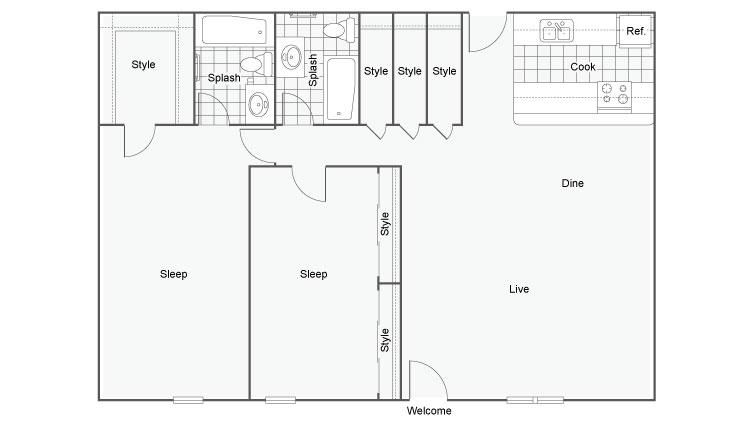 The Hub at Baton Rouge Apartment Homes Apartments For Rent Baton Rouge LA 70808 Floor Plan