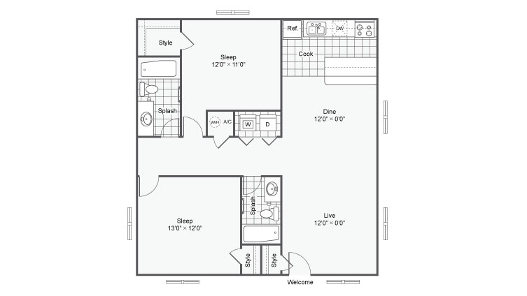Floor Plan Image | The Hub at Baton Rouge Apartment Homes Apartments For Rent Baton Rouge LA 70808