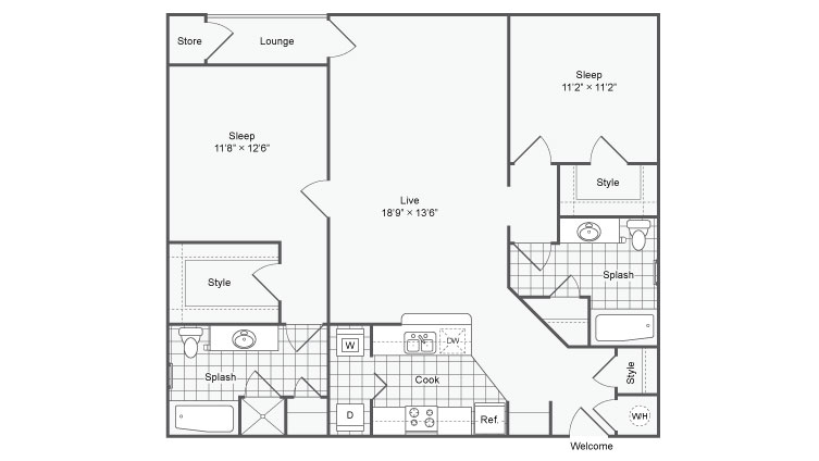 2 Bedroom Floor Plan | Chamblee Apartments | The Station on Peachtree