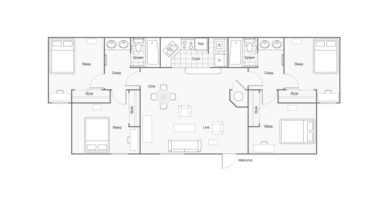 Floor Plan 12 | 2 Bedroom Apartments In Auburn AL | The Hub at Auburn