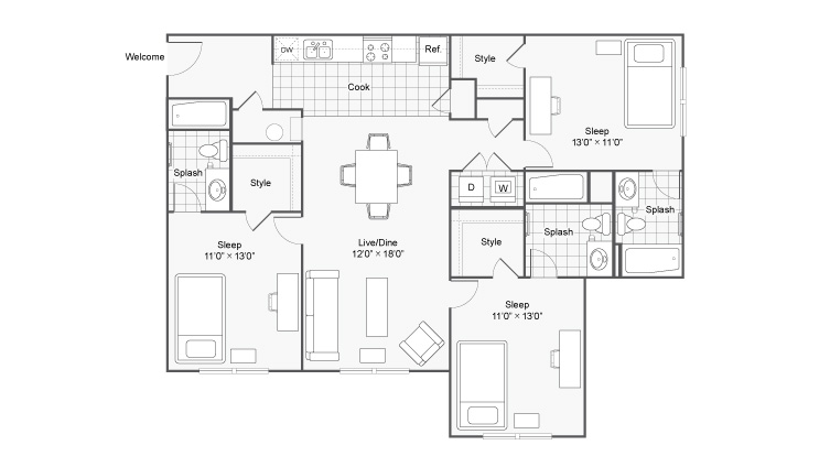 Floor Plan | The Social at Aurburn