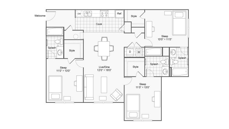 Floor Plan 1   The Social at Aurburn