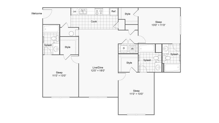 Floor Plan 4   The Social at Aurburn