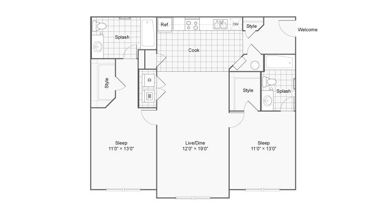 Floor Plan 2   The Social at Aurburn. One Bedroom Apartments In Auburn AL   The Social at Aurburn