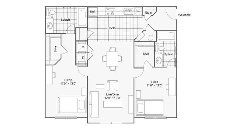 Floor Plan 6   The Social at Aurburn
