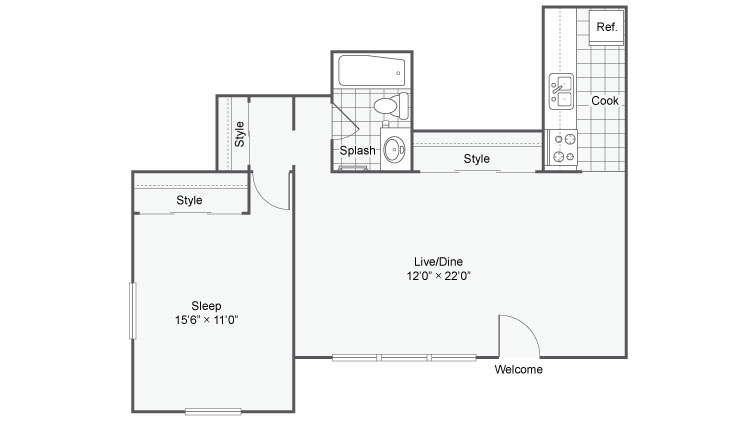 1 Bedroom Floor Plan | Apartments In Chesterfield Mo | Magnolia Apartment Homes