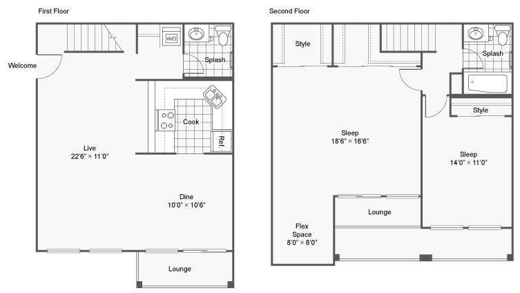 2 Bedroom Floor Plan | Apartments Chesterfield Mo | Magnolia Apartment Homes