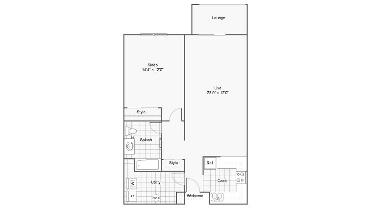 1 Bedroom Floor Plan | Apartments Eden Prairie | Arrive Eden Prairie