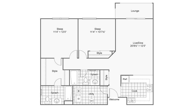 2 Bedroom Floor Plan | Apartments In Eden Prairie MN | Arrive Eden Prairie