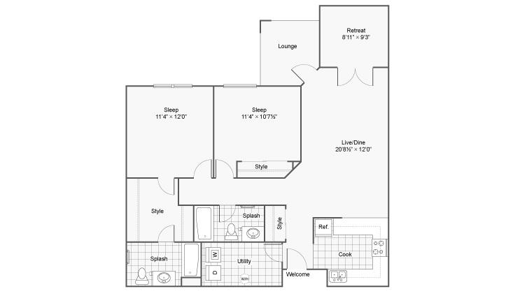 2 Bdrm Floor Plan | Eden Prairie MN Apartments | Arrive Eden Prairie