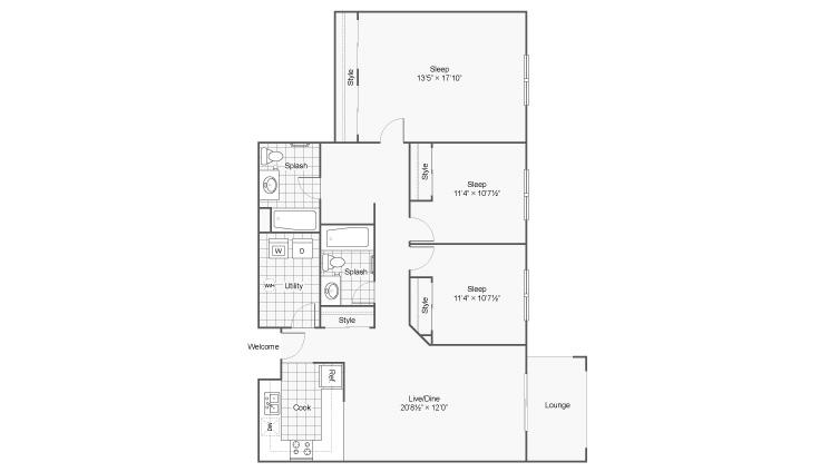 3 Bedroom Floor Plan | Apartments Near Eden Prairie MN | Arrive Eden Prairie