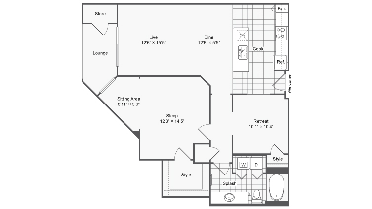 Floor Plan 9 | Apartments In Atlanta GA | The Mille Brookhaven Apartment Homes