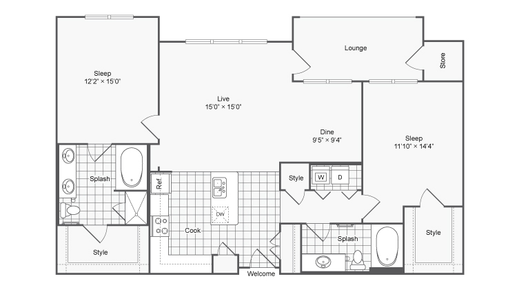 Encore @ Clairmont Apartment Homes for Rent Atlanta GA 30329 Floor Plan