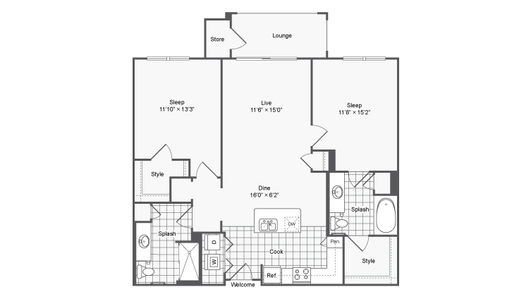 Floor Plan 20 | Brookhaven Apartments For Rent | The Mille Brookhaven Apartment Homes
