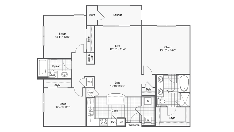 Floor Plan 11 | Luxury Apartments In Brookhaven GA | TwentyNine24 Brookhaven