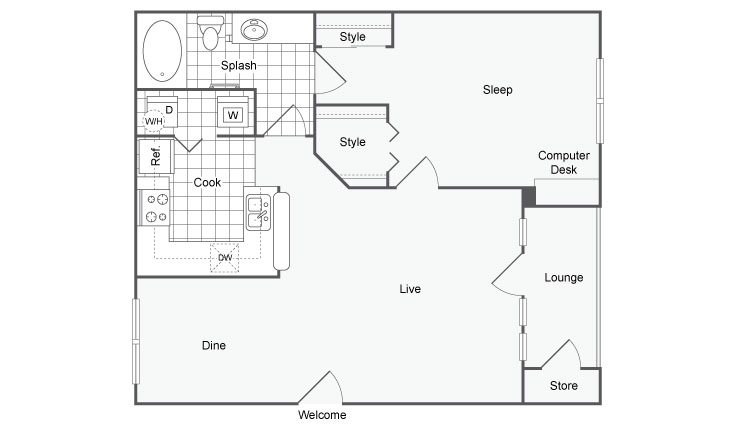 1 Bedroom Floor Plan | Luxury Apartments For Rent In Dallas TX | Arrive on University
