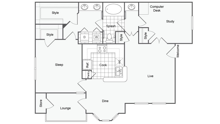 2 Bedroom Floor Plan | Dallas TX Apartments | Arrive on University