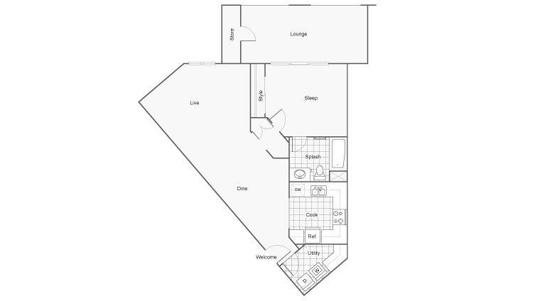 Floor Plan 2 | Two Bedroom Apartments San Diego | Arrive Mission Valley