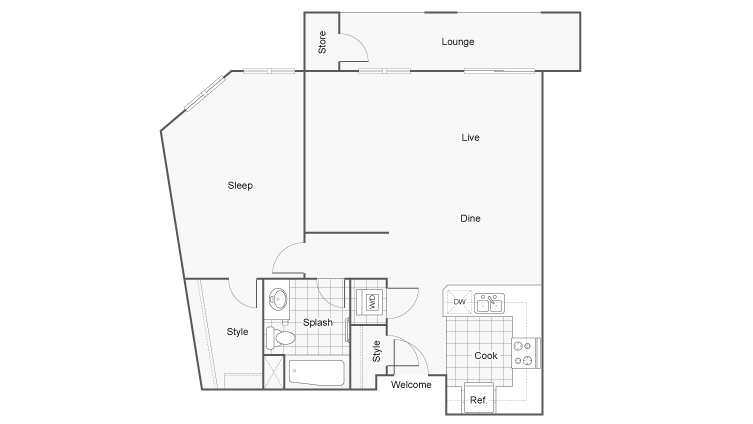Floor Plan 3 | Downtown San Diego Apartments | Arrive Mission Valley