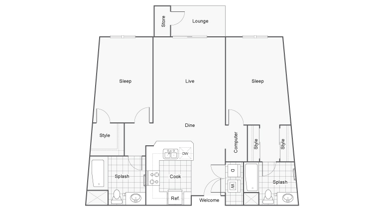 Floor Plan 5 | Apartments In San Diego | Arrive Mission Valley