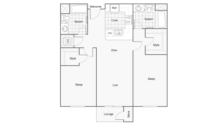Floor Plan 8 | Downtown San Diego Apartments | Arrive Mission Valley