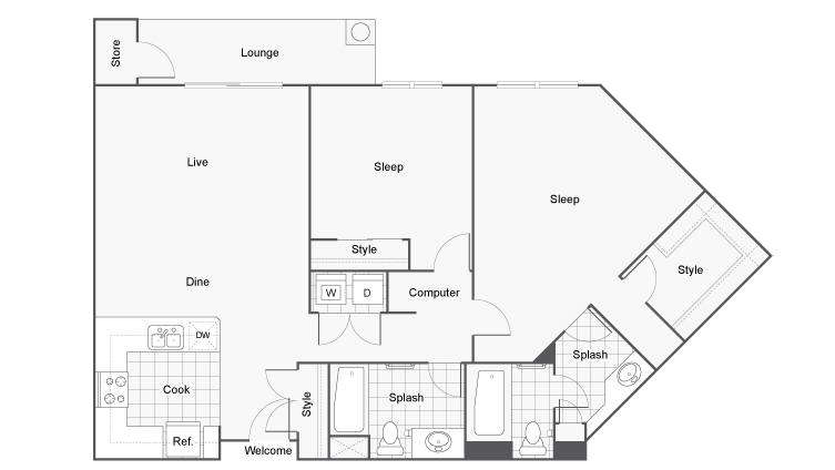 Floor Plan 13 | Downtown San Diego Apartments | Arrive Mission Valley
