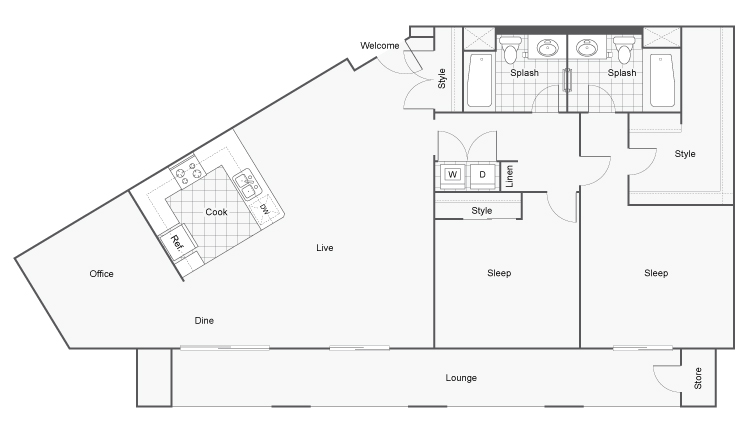 Floor Plan 15 | Apartments In San Diego | Arrive Mission Valley