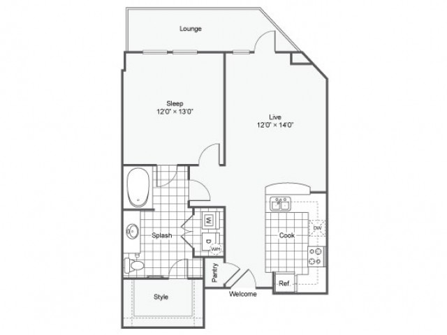 Floor Plan 1 | Luxury Downtown Dallas Apartments | Arrive West End