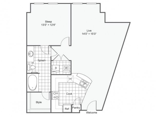 Floor Plan 6 | Luxury Downtown Dallas Apartments | Arrive West End