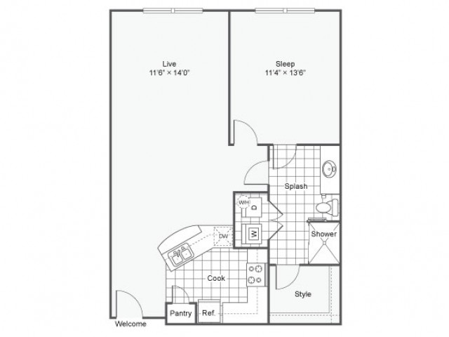 Floor Plan 9 | Dallas Texas Apartments Downtown | Arrive West End