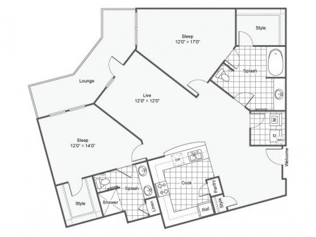 Floor Plan 23 | Downtown Dallas Apartments | Arrive West End