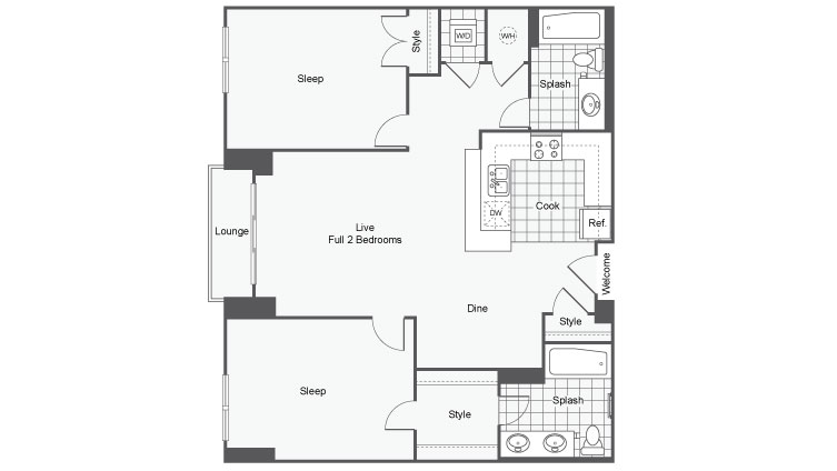 Floor Plan 12 | Apartments Near GSU | Dwell ATL