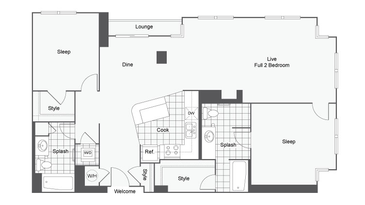 Floor Plan 36 | Student Apartments Atlanta | Dwell ATL