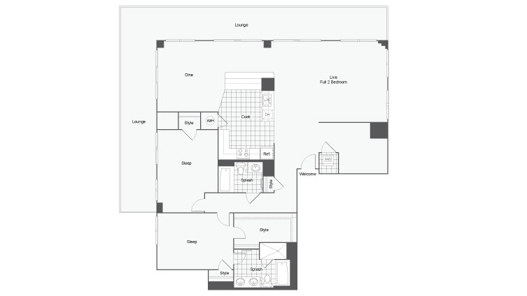 Floor Plan 45 | Atlanta Student Apartments | Dwell ATL