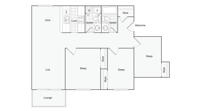 Floor Plan 9   Port Orchard Apartments   The Clubhouse at Port Orchard