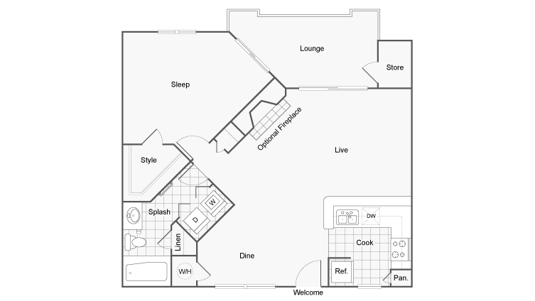 Floor Plan 2 | Apartments For Rent Dunwoody GA | 45Eighty Dunwoody Apartment Homes