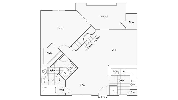 Floor Plan 2 | Apartments For Rent Dunwoody GA | 45Eighty Dunwoody Apartment Homes