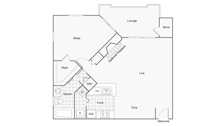 Floor Plan 3 | Apartments For Rent Near Dunwoody GA | 45Eighty Dunwoody Apartment Homes
