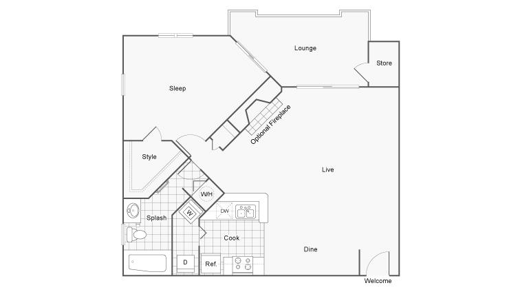 Floor Plan 3 | Apartments For Rent Near Dunwoody GA | 45Eighty Dunwoody Apartment Homes