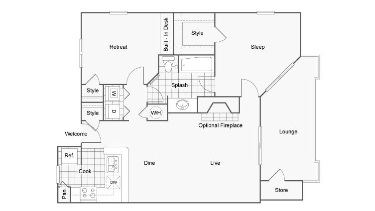 Floor Plan 4 | Apartment In Dunwoody GA | 45Eighty Dunwoody Apartment Homes