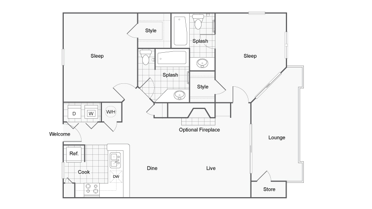 Floor Plan 5 | Luxury Apartments In Dunwoody GA | 45Eighty Dunwoody Apartment Homes