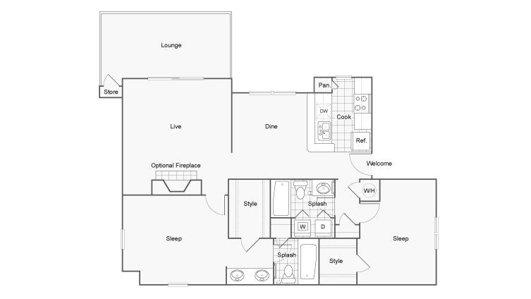 Floor Plan 6 | Luxury Apartments Dunwoody GA | 45Eighty Dunwoody Apartment Homes