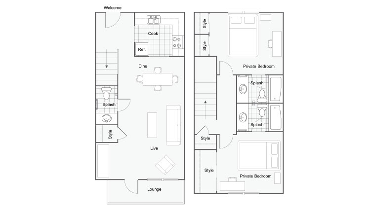Floor Plan Image | FSU Off Campus Housing | The Social 2700 Student Spaces
