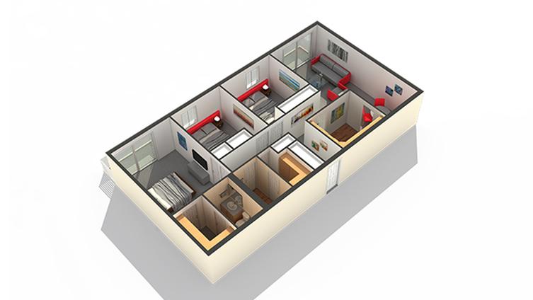Bedroom Floor Plan   Apartments In Highwood IL   Arrive North Shore